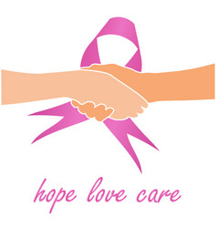Support for breast cancer sufferers- pink ribbon vector
