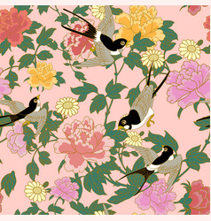 Swallow on peonies vector