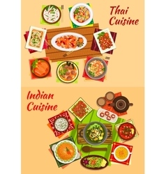 Thai and indian oriental dishes for dinner menu vector