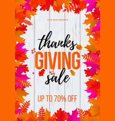 thanksgiving autumn fall sale maple leaf poster vector image