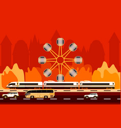 transport on the city and ferris wheel background vector image