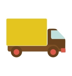 Transport truck with yellow wagon and wheels vector