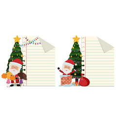 Two paper templates with santa on christmas vector