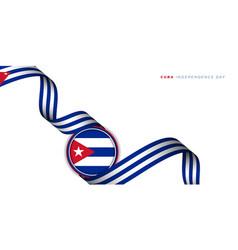 Waving cuba ribbon flag with cuba circle flag vector