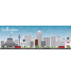 Wellington skyline with grey buildings vector