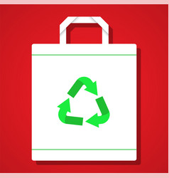 white reuse bag on red background vector image
