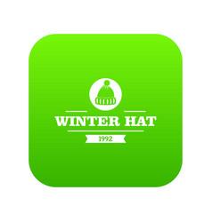 Winter hat icon green vector