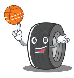 with basketball tire character cartoon style vector image