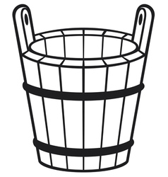 wooden bucket vector image
