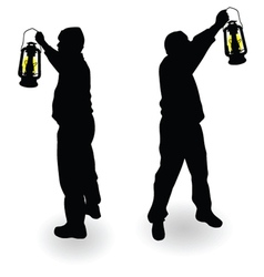 Working man with lantern in hand black silhouette vector
