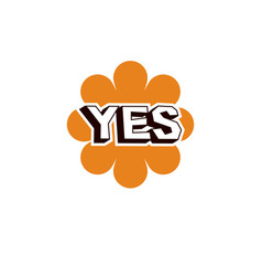 Yellow checkmark with yes word approved verify vector
