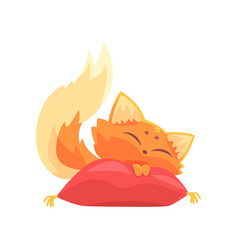 funny red kitten sleeping on a pillow cute vector image vector image