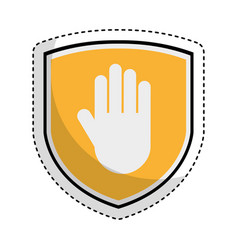 shield insurance with hand stop isolated icon vector image vector image