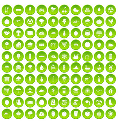 100 fruit icons set green circle vector