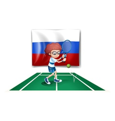 A tennis player in front of the Russian flag vector image vector image