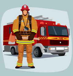 firefighter or fireman with fire truck vector image vector image