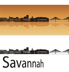Savannah skyline in orange background vector image vector image