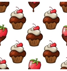Cupcakes and strawberry seamless pattern vector