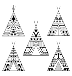 Hand drawn American native wigwams set with ethnic vector image