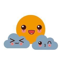 kawaii sun clouds weather forecast cartoon vector image