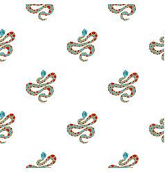 Light blue snake with orange spots pattern flat vector