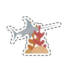 marlin swordfish marine wildlife coral vector image