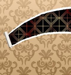 ripped damask wallpaper vector image vector image