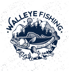 vintage walleye fishing emblem and label vector image