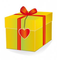 yellow box with red ribbon vector image vector image