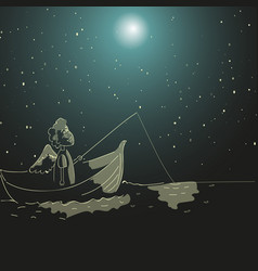 boy with wings on a boat is fishing in the river vector image