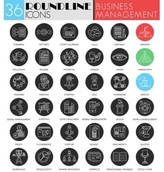 Business management circle white black icon vector image