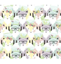 Cute little fox seamless pattern vector image vector image