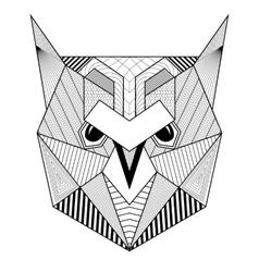 Hand drawn zentangle artistic Owl Bird for adult vector image vector image