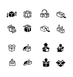 set of box and arrow icons vector image vector image