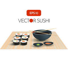Sushi with Soy Sauce Japan Food Menu Restaurant vector image vector image