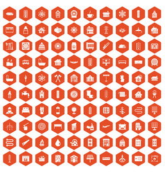 100 heating icons hexagon orange vector