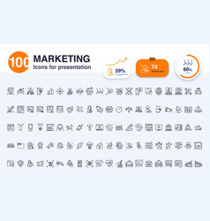 100 marketing line icon vector image