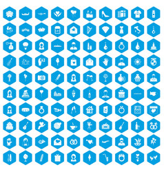 100 wedding icons set blue vector
