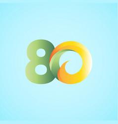 80 years anniversary celebrations yellow green vector