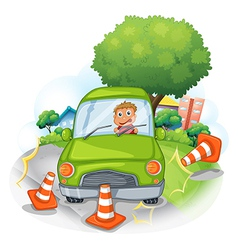 A green car bumping the traffic cones vector image vector image