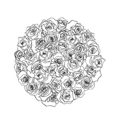 a lot beautiful outline rosebuds in round shape vector image