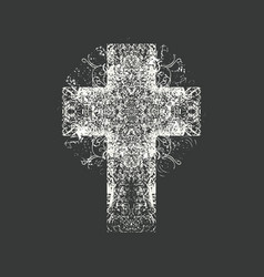 abstract grunge black cross on a black background vector image