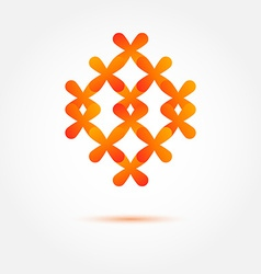 Abstract orange sybmol made of crosses vector