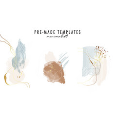 Abstract watercolor shapes gold geometric artwork vector