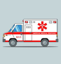 American ambulance on a gray background flat vector