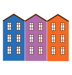 Apartment buildings painted in bright colors vector