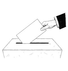 artistic or drawing of voters hand putting vector image