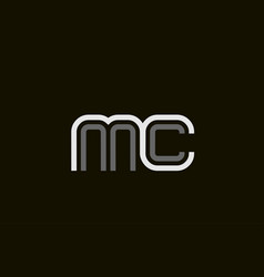 Black and white line mc m c letter logo alphabet vector