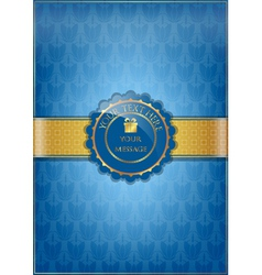 Blue floral texture and golden ribbon vector image