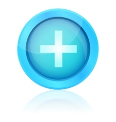 Blue plus icon with reflection vector
